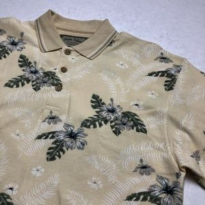 Palm Island Yellow Flower Print Polo Shirt Size L